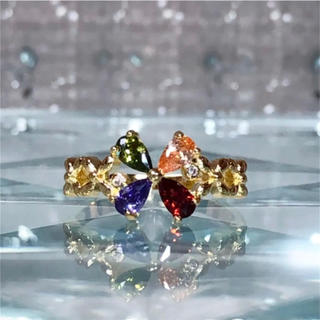 フラワー  花 マルチカラー AAAランク ダイヤモンドcz リング 指輪(リング(指輪))
