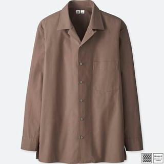 ユニクロ(UNIQLO)のL✴半額送料込みユニクロU オープンカラーシャツ紫パープル新品タグ付き(シャツ)