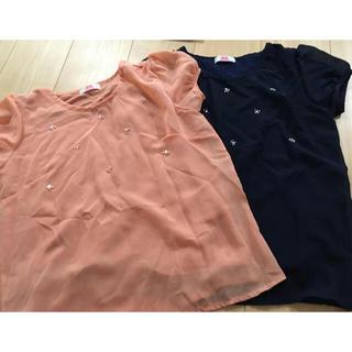 ベルーナ(Belluna)のビジュー付きTシャツ 2枚セット(Tシャツ(半袖/袖なし))