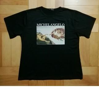 新品★黒★ミケランジェロのアダムの創造のTシャツ (Tシャツ(半袖/袖なし))