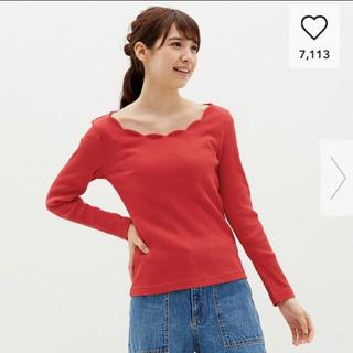 ジーユー(GU)のGU 赤スカラップ衿(Tシャツ(長袖/七分))