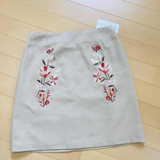 シマムラ(しまむら)の新品タグ付き♡ 刺繍スカート エンブロイダリー ベージュ L ページボーイ(ミニスカート)