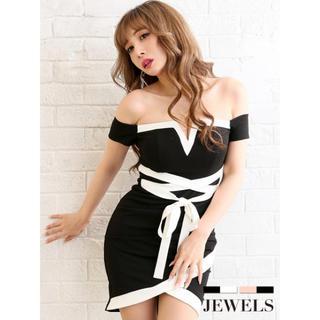 ジュエルズ(JEWELS)の新品未使用タグ付き オフショルチューリップカットキャバドレス バイカラー(ナイトドレス)