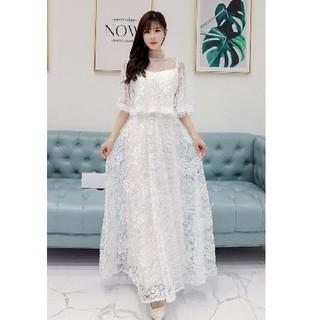 4L 新品 レースワンピース 白 大きいサイズ ロングドレス フォーマル 結婚式(ロングワンピース/マキシワンピース)