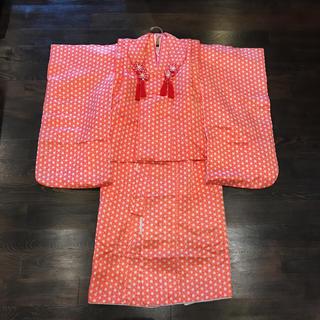 着物 七五三 三歳 被布 長襦袢 セット 麻の葉 化繊 アンティーク 祝着(和服/着物)