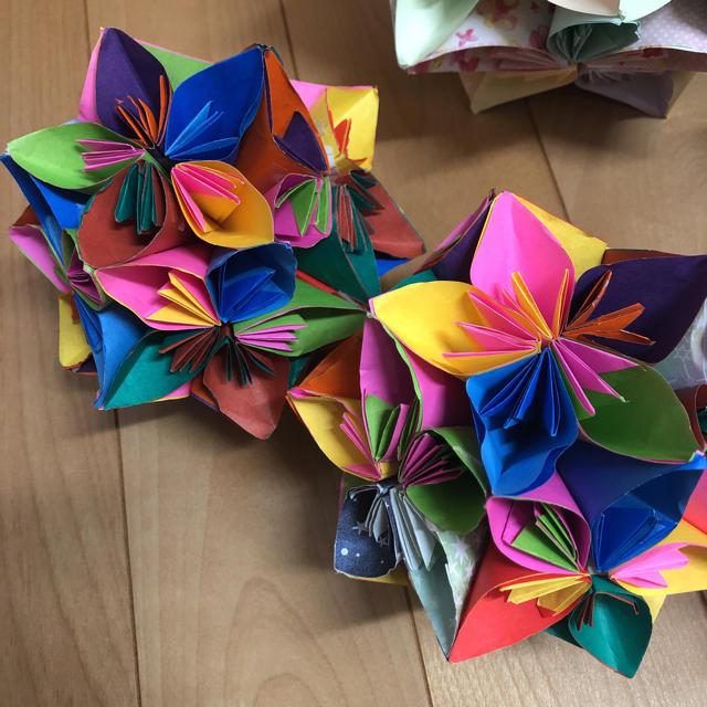 くす玉 折り紙 花
