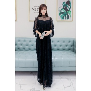 5L 新品 レースロングワンピース 黒 大きいサイズ ドレス フォーマル 結婚式(ロングワンピース/マキシワンピース)