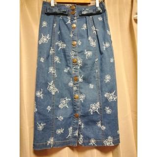 リズリサ(LIZ LISA)のLIZ LISA サイドジップ薔薇柄デニムスカート(ひざ丈スカート)
