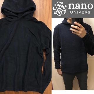 ナノユニバース(nano・universe)の状態良✦nano univers濃紺パーカープルオーバーメンズ送料込(パーカー)