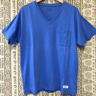 デラックス(DELUXE)のDELUXE  VネックTシャツ ブルー Mサイズ(Tシャツ/カットソー(半袖/袖なし))