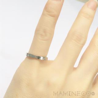 4号サイズ ステンレス製 シルバー色ラインストーンリング ピンキーリング (リング(指輪))