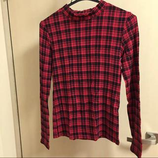 ジーユー(GU)のGU 長袖Tシャツ レッド ブラック チェック 赤(Tシャツ(長袖/七分))