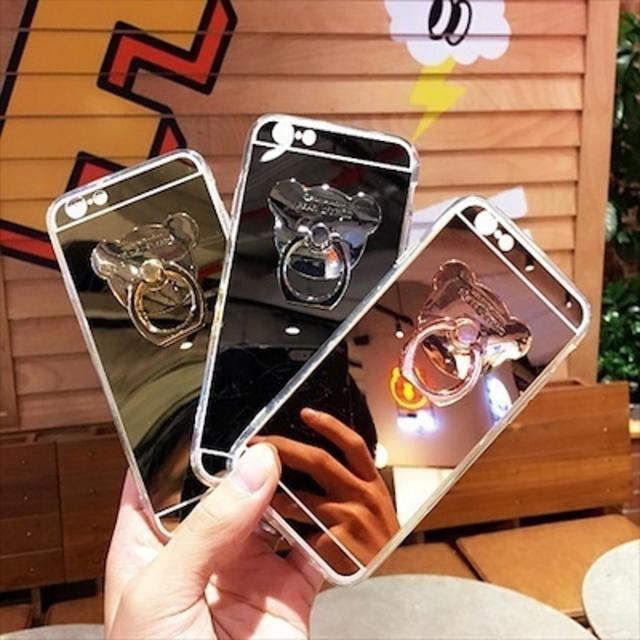 ミラー リング付 クマ ベアー iPhoneケースアイフォンの通販 by Sweet Angel|ラクマ