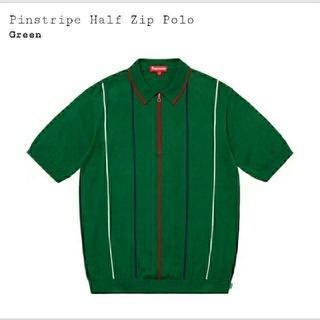 シュプリーム(Supreme)の【Supreme】PinstripeHalfZipPolo  Mサイズ(ポロシャツ)