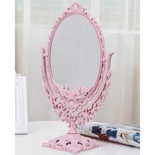 フランフラン(Francfranc)の【新品未使用】アンティーク調スタンドミラー 卓上鏡 両面鏡 拡大鏡 ピンク(卓上ミラー)