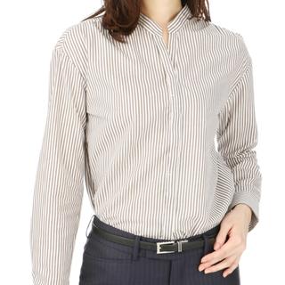 アオヤマ(青山)の【新品】洋服の青山 ストライプ スキッパーシャツ(シャツ/ブラウス(長袖/七分))