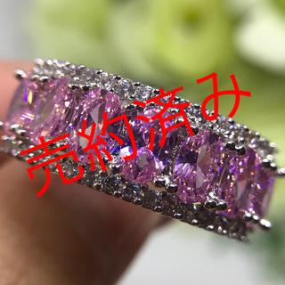 21号★ピンクトパーズ ホワイトトパーズ エレガントリング★レディース指輪刻印(リング(指輪))