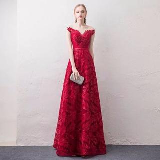 360b13510d369 カラードレス 赤 綿 Aライン ロング 舞台ドレス (ウェディング ...