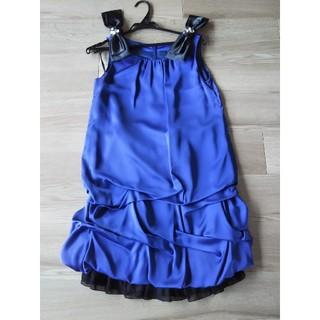 青 ブルー ワンピース ドレス 結婚式(ミニドレス)