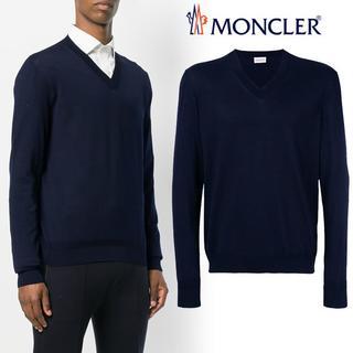 モンクレール(MONCLER)の【4】MONCLER 18SS ネイビー ハイゲージ Vネックニット XL(ニット/セーター)