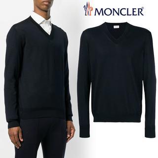 モンクレール(MONCLER)の【5】MONCLER 18SS ブラック ハイゲージ Vネックニット L(ニット/セーター)