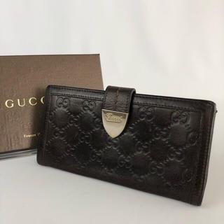 32aa30a72340 グッチ(Gucci)の正規品 GUCCI グッチ シマ ブラウン レザー 長財布 GR2-