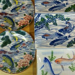 週末3日間限定❕💴⤵ 万古焼 作者不明 鯉の大皿 5枚セット(陶芸)
