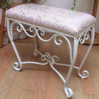 幅50cm上質なアイアン・ベンチチェア アンティーク仕様 スツール 椅子(スツール)