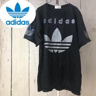 アディダス(adidas)のadidas アディダス 90s ゲームシャツ デカロゴ Tシャツ 黒 サイズL(Tシャツ/カットソー(七分/長袖))