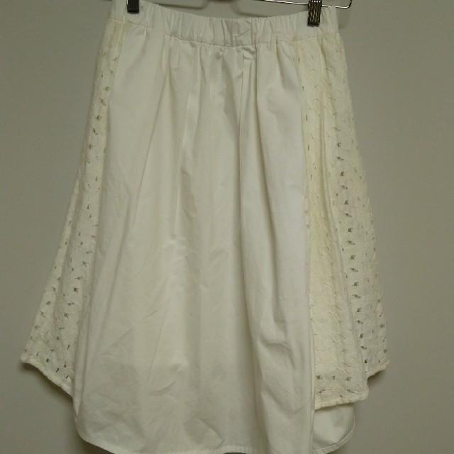 DENDROBIUM(デンドロビウム)の白サイドレーススカート レディースのスカート(ひざ丈スカート)の商品写真