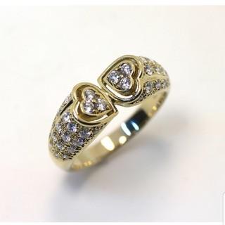 クリスチャンディオール(Christian Dior)のディオール K18(750) ハートモチーフ パヴェ ダイヤ リング 20.5号(リング(指輪))