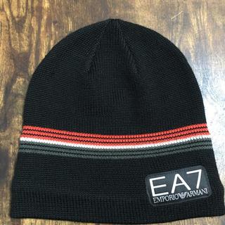 エンポリオアルマーニ(Emporio Armani)のused美品*EMPORIO ARMANI/ニット帽/黒/EA7(ニット帽/ビーニー)