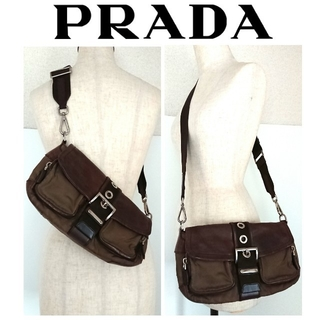 4105c22a7220 プラダ(PRADA)の良品 プラダ レザー ナイロン ショルダーバッグ ブラウン レディース メンズ(ショルダー