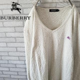 バーバリー(BURBERRY)の春コーデ☆BURBERRY  ロングtシャツ Vネック パープル 刺繍ロゴ(Tシャツ/カットソー(七分/長袖))