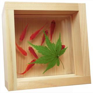「送料0円」 金魚アート 「咲/紅葉×緑」 こだわりの純日本製(置物)