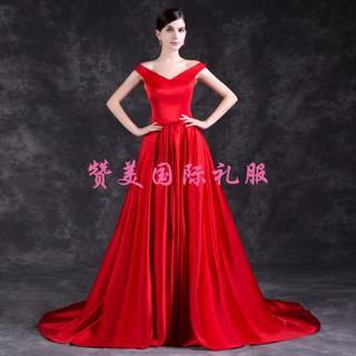 b7d11aa8ac5af カラードレス 赤 光沢サテン オフショルダー ロングトレ(ウェディング ...