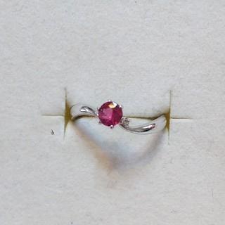 K18WG レッドスピネル ダイヤ リング(リング(指輪))