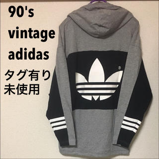 アディダス(adidas)の【デッドストック】90's アディダス フードつき長袖カットソー(Tシャツ/カットソー(七分/長袖))