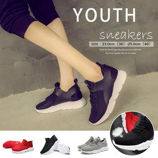スニーカー レディース スポーツシューズ 通気性 ランニングシューズ履きやすい靴(スニーカー)