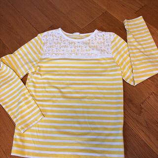 ジーユー(GU)のGU 胸元レース✨ボーダーロンT サイズ140cm/GAP ユニクロ H&M(Tシャツ/カットソー)
