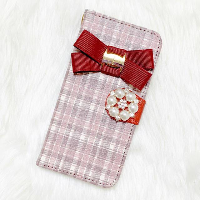 手帳 iphone7 ケース jvc 、 iPhoneケース スマホケース 手帳型 全機種対応 チェック柄 リボン 赤 茶の通販 by DearMerry|ラクマ