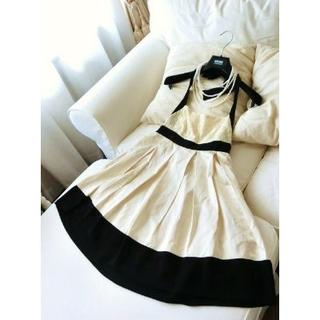 ハンアンスン(HAN AHN SOON)のHAN AHN SOON ハンアンスン◆バイカラードレス ワンピース◆36 (ミディアムドレス)