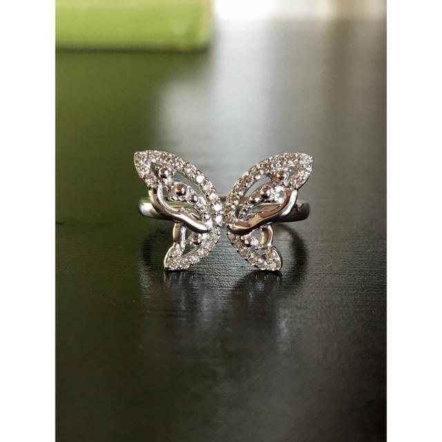 蝶々 ダイヤモンドリング K18WG 計D0.23カラット レディースのアクセサリー(リング(指輪))の商品写真