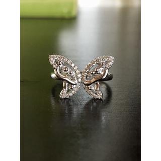 蝶々 ダイヤモンドリング K18WG 計D0.23カラット(リング(指輪))