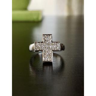 クロス ダイヤモンドリング K18WG 計D0.30カラット(リング(指輪))