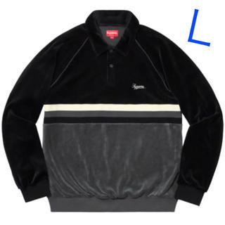 シュプリーム(Supreme)のSupreme Stripe Velour Raglan L/S Polo(ポロシャツ)