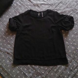 シマムラ(しまむら)のHKworksLONDODシフォン袖リボントップスブラック(カットソー(半袖/袖なし))