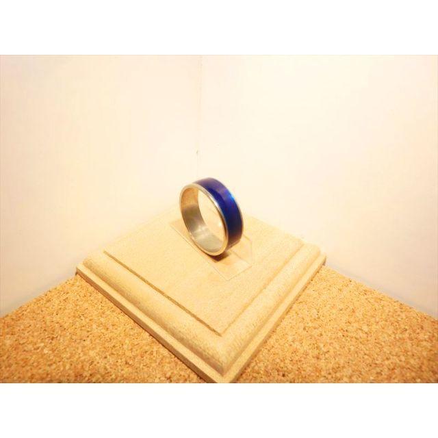 【22号】群青色のライン シンプルリング シルバー×ブルー色【ステンレスリング】 メンズのアクセサリー(リング(指輪))の商品写真