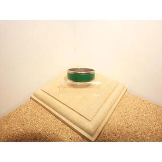 【22号】鮮緑のライン シンプルな指輪 シルバー×グリーン色【ステンレスリング】(リング(指輪))