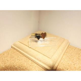 【ステンレスリング】【14号】シルバー×ゴールド色 可愛いハートのペアリング(リング(指輪))